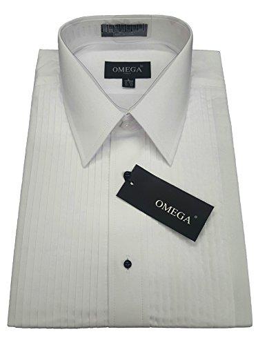 OmegaTux Mens Laydown Collar Tuxedo Shirt, 1/4