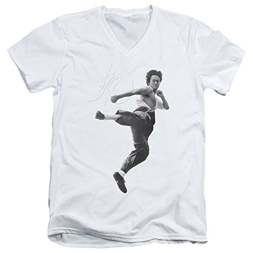 Bruce Lee Flying Kick Unisex Adult V-Neck T Shirt for Men and Women, Large White