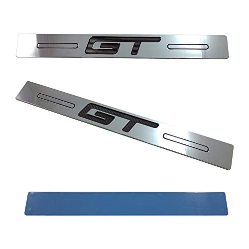 (2pc) 05-14 Mustang GT Logo Door Sill Show Quality Black n Chrome Finish Sills Chrome Logo Door Sills