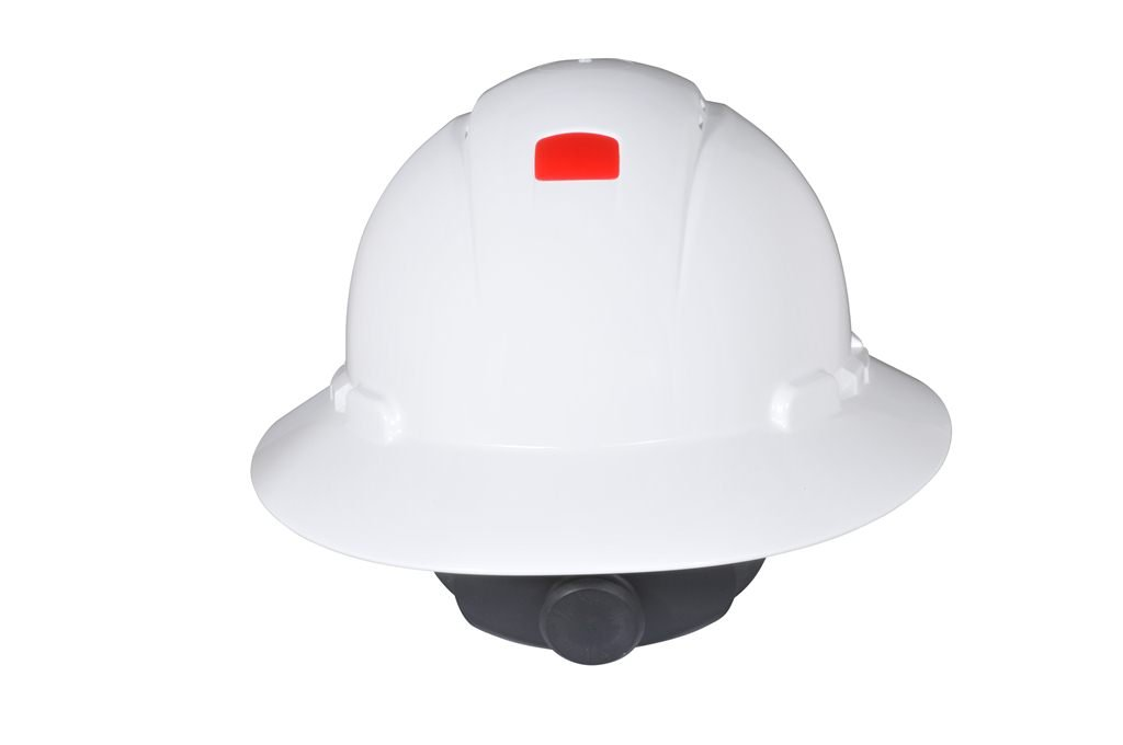 3M Full Brim Hard Hat H-801V-UV, 4-Point Ratchet Suspension, Vented and Uvicator, White