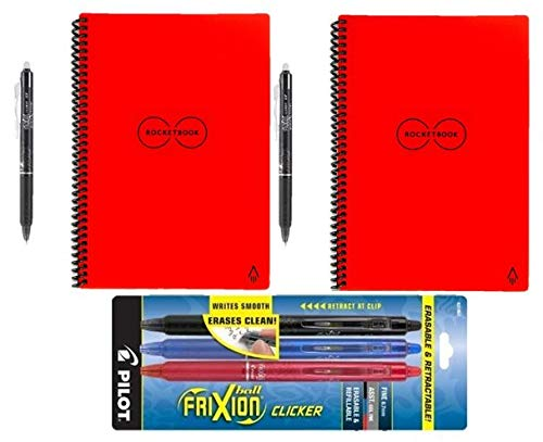 Rocketbook Everlast Reusable Smart Notebook, Letter Size, Red (Pack of 2) with 5 Pilot FriXion Pens by Rocketbook (Image #8)