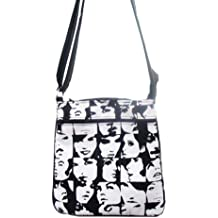 US HANDMADE FASHION IN CROWD PEOLPE FACES Pattern Cross Over body Shoulder bag Style Handbag Purse cotton fabric, CSOP 4129