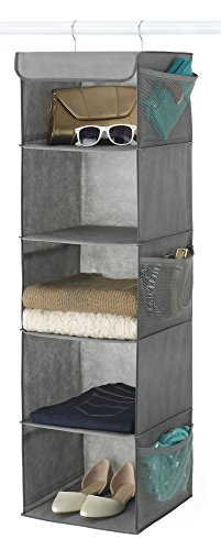 Zober 5-Shelf Hanging Closet Organizer - 6 Side Mesh Pockets Breathable Polypropylene Hanging Shelves - for Clothes Storage and Accessories, (Gray) 12' x 11 ½ ' x 42'