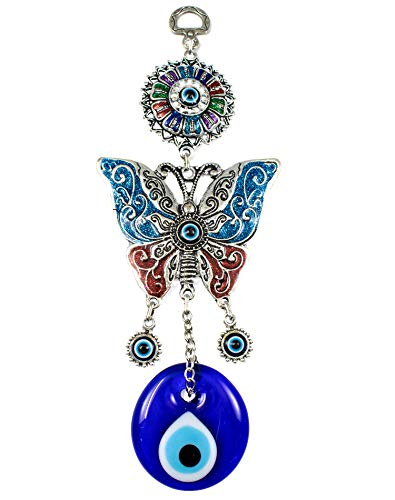 EA Gift Global Blue Evil Eye Bead (Nazar) with Butterfly Quality Amulet Wall Hanging Decoration Ornament - Home Blessing Good Luck and Protection Charm (Alternative 01) ()