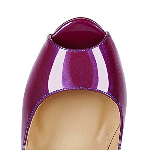 Chris-t Femmes Stiletto Talon Plate-forme Peep Toe Pompes Bleu À Violet