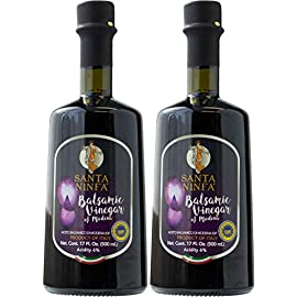 Santa Ninfa Balsamic Vinegar of Modena IGP, 17 Fl Oz Glass Bottle, (Pack of 2) 60 Ships in Amazon Certified Frustration-Free Packaging Pack of two Balsamic Vinegar of Modena, Italy, 17 oz Glass Bottles This Balsamic vinegar is matured in wooden casks to achieve a complex flavor balancing sweetness and acidity.