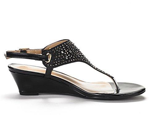Dröm Par Kvinna Aditi Låg Kil Klänning Sandaler Nya Svarta