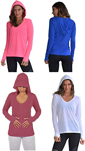 Sexy Basics Women's 4 Pack Flowy Slub Burnout Long Sleeve Hoodie V Neck Shirt with Thumb Hole/Light & Active Tops (4 Pack-White/Fushia/Royal/Coral, 3X-Large)