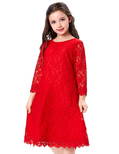 GRACE KARIN Flower Girl Red Lace Dresses with Sleeves (11-12yrs) CL010442-2 for $<!--$14.99-->