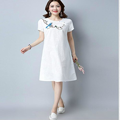Linen White Flower Cotton Bird Embroidery Colygamala Women's Chinese Traditional Qipao Dresses vgUXqZx6Ew