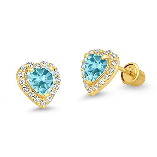 Brass Plated Earrings Gold - 14k Gold Plated Brass Light Blue Heart Screwback Children Earrings with Sterling Silver Post