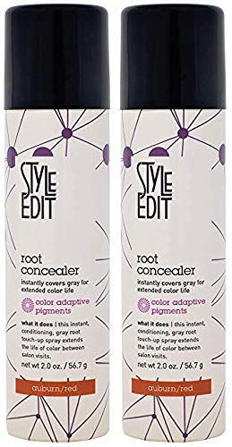 Root Concealer (Auburn/Red) 2 oz by Style Edit  (2 Pack) (Copper Powder Foundation)