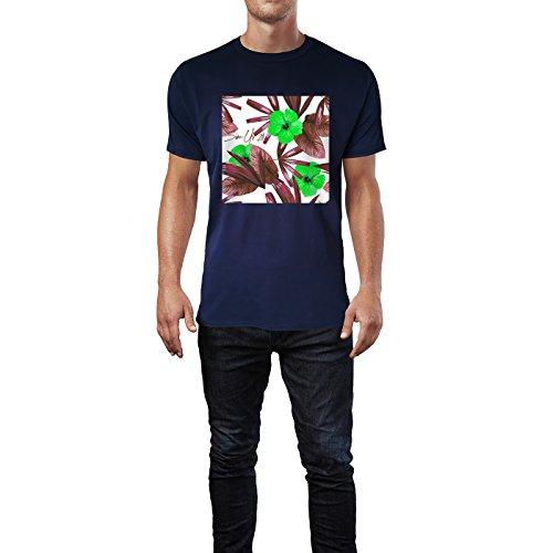 SINUS ART® Roter Hibiskus mit blauen Palmblättern Herren T-Shirts in Navy Blau Fun Shirt mit tollen Aufdruck