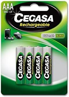 CEGASA Rechargeable - Pack 4 Pilas HR03 800 mAh, Color Verde ...