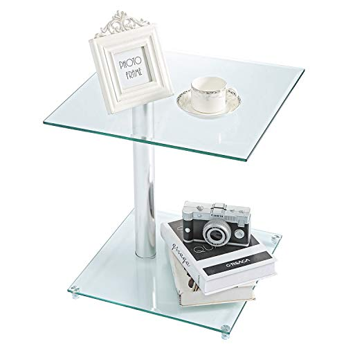 Rfiver Square Coffee Table Small Side Table End Table, Save Space Corner Table for Living Room Bedroom, Clear Tempered Glass W17.7 x D17.7 x H18.9, ET7001