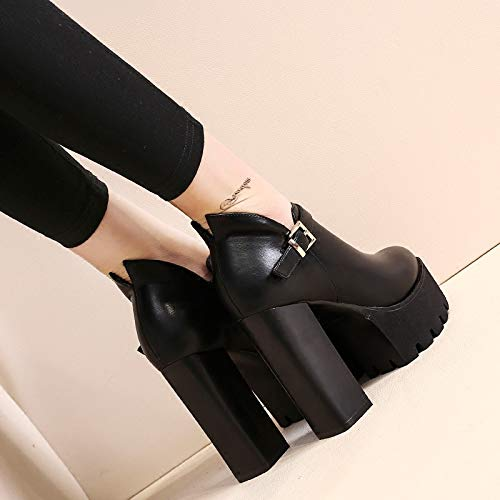 Mouth Heel Heel Shoes Shoes Belt Waterproof Joker LBTSQ Buckle Women'S High 12Cm Black Rough Platform Deep H5IH7q