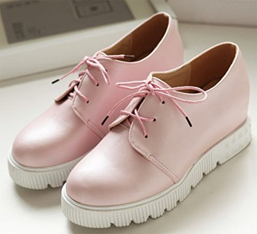 Aisun Women's Casual Platform Round Toe School Lace-up Elevator Sneakers Shoes Pink w3uDc1Nh0