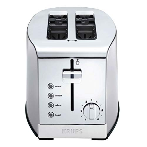 KRUPS KH732D Breakfast Set 2-Slot Toaster with Brushed and Chrome Stainless Steel Housing, 2-Slice, Silver image