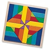 HABA Geomix Arranging Game - 32 Piece Wood Pattern Mosaic with 3D Building Options (Made in Germany)