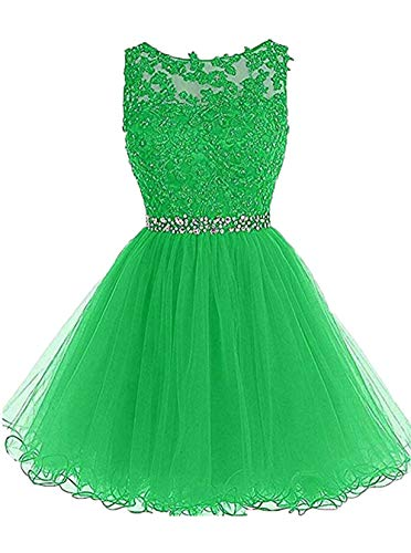 Tulle Graduation Dresses Lace Beaded Sexy Backless Pageant Party Gown Homecoming Light Green,12]()