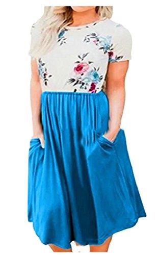 Azzurro Floreale Stampa Donne Jaycargogo Tasche Estate Manica Oscillazione Corta Con Rappezzatura Vestito Midi aIOX7qO