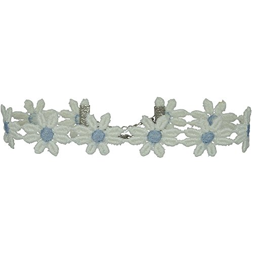 (Twilight's Fancy Two-Tone Fun Flower Daisy Lace Choker Necklace (White with Blue, Large))