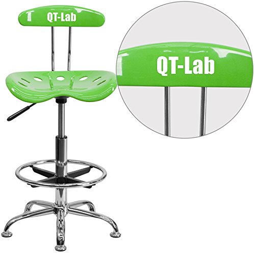 Flash Furniture Personalized Vibrant Drafting Stool with Tractor Seat, Apple Green/Chrome
