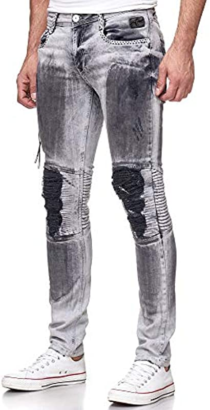 Rusty Neal Man Denim męskie spodnie jeansowe dla mężczyzn Biker Grey Oil Washed Stretch Slim 104: Odzież