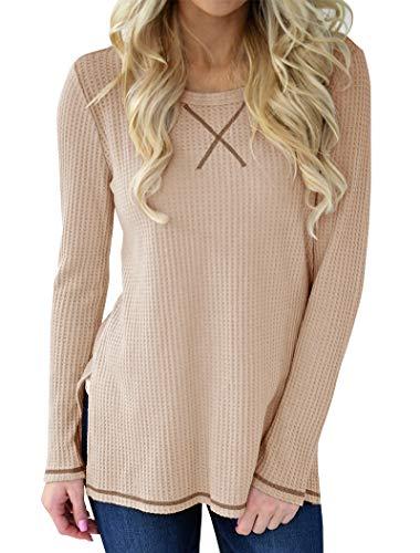 Minthunter Women's Long Sleeve Shirt Crew Neck Knit Thermal Top Cute -