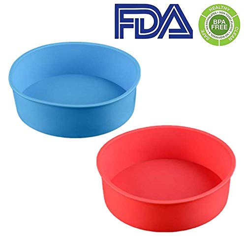 (zswell Round Silicone Cake Pan Baking Mold 6 Inches - Set of 2 - BPA-Free - Kitchen Baking Tool Red and Blue (Red and)
