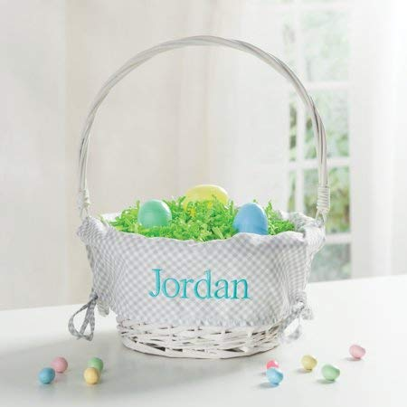 Personalized Wicker Easter Basket - Grey Liner -