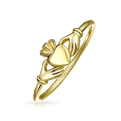 Chapado en oro plata de ley 925fino Claddagh Anillo de Midi