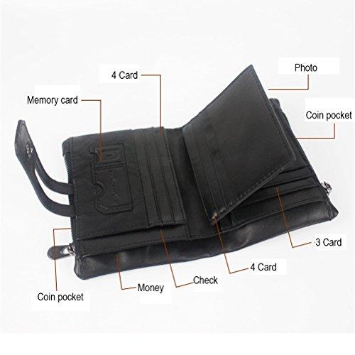 Zhhlaixing Pochette Zipper Cuir Hommes Black Pu poches Pouch Purse Multi Bi Coin Blocking Rfid fold Classique Card RzRWnar