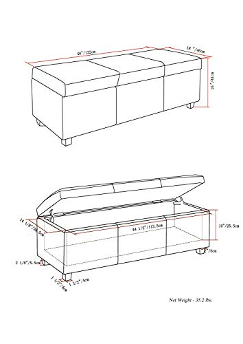 Simpli Home AXCF18-DBR Avalon Storage Ottoman Distressed Faux Air Leather
