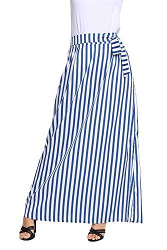 HOTAPEI Summer High Waisted Striped Long Skirts for Women Light Blue Small
