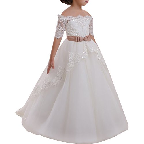 (IBTOM CASTLE Bbay Girls Elegant Stunning Rhinestone Organza Pleated Ruffled Flower Girl Dress Wedding #E White Off Should 6-7 Years)