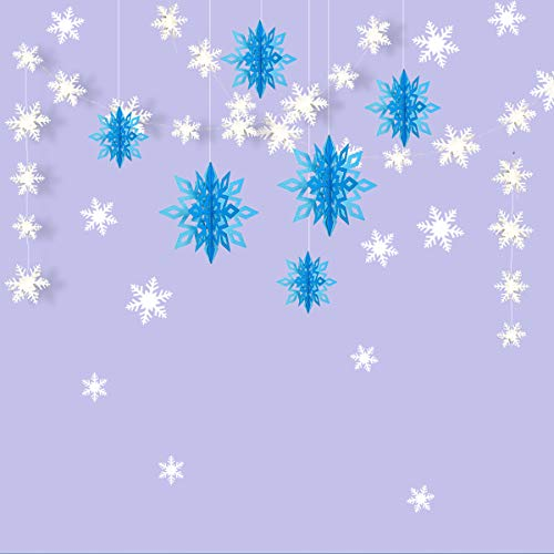 Snowflake Party Decorations, 3D White Snowflake Garland & Large 3D Hanging Snowflake Decorations & Snowflake Wall Sticker Value Kit for Christmas/Birthday Event/Frozen Party Decorations (Ice Blue) -