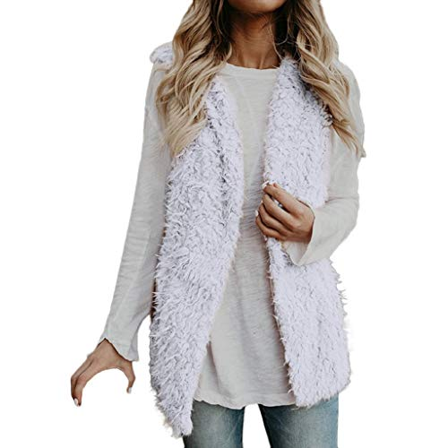 Creazrise Womens Vest Casual Faux Fur Sherpa Jacket Winter Sleeveless Open Front Coat Sleeveless Waistcoat White from Creazrise Womens Coat