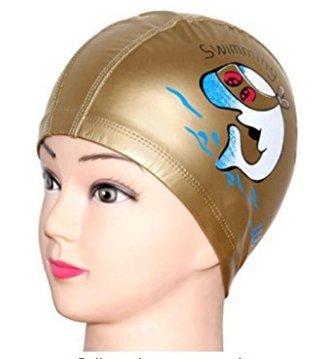 LK.8871 1PCS Cuffie impermeabili blu moda PU cuffia per bambini modello delfino ( d'oro )