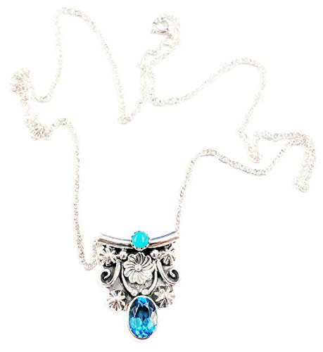 .925 Sterling Silver Native American Jewelry Flower Topaz Turquoise Handmade