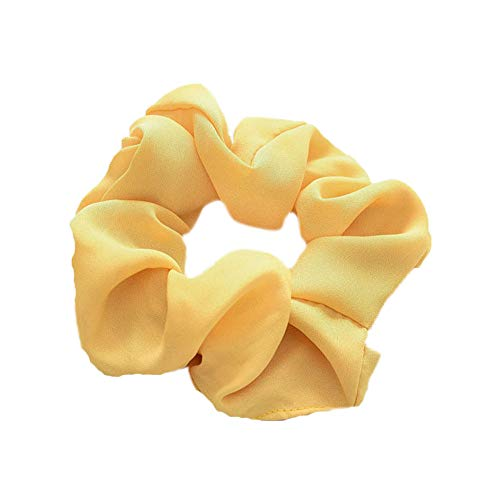 1Pc Women's Large Chiffon Hair Scrunchies Hair Bow Solid Color Ponytail Holder (yellow) ()