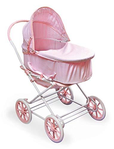 Badger Basket 3-in-1 Doll Pram, Carrier, and Stroller (fits American Girl Dolls), Pink Gingham (Renewed)