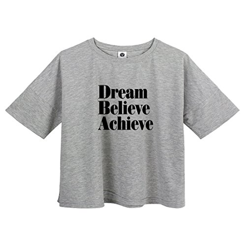 BLACKMYTH Mujer Casual Cute Crop T-shirt Manga Corta Linda Camisetas Graphic Tees Gris