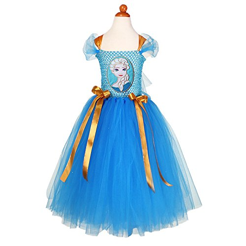 Little Little Smile Girls Summer Frozen Handmade Birthday Party Tutu Dress Blue (6y, Blue)