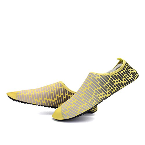 Men Women and Kids Pull-On Water Shoes Outdoor Sports Sneaker Quick-dry Holey Ventilation KPU Outsole 5yellow k7gtBW