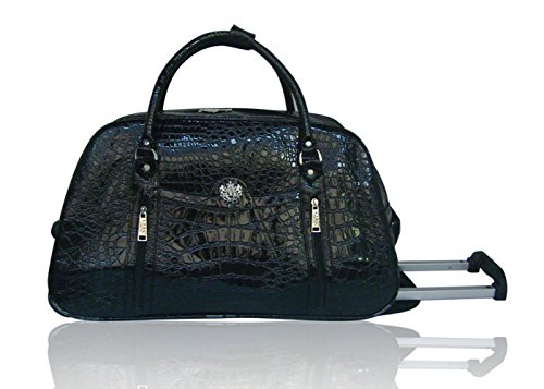 LYDC Reisetasche Schlangenmuster Patent Black
