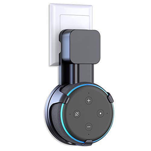 Matone Outlet Wall Mount Holder for Dot 3rd Generation & Mi AI, A Space-Saving Solution for Your Smart Home Speakers, Clever Dot Accessories with Cord Arrangement Hide Messy Wires - Black