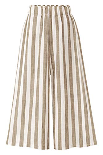(Chartou Women's Casual Striped High-Waist Wide-Leg Cotton Lightweight Palazzo Capri Culotte Pants (Khaki, X-Large) )