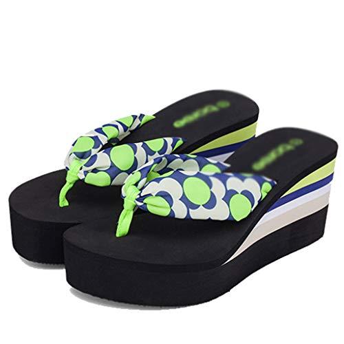 Grueso Beach Sandalias Para Alto Verano Pantuflas Aminshap Tacón flops Moda Gasa Zapatillas Fondo Mujer Pinch Green Flip De Muffin Y gFa6aPxn