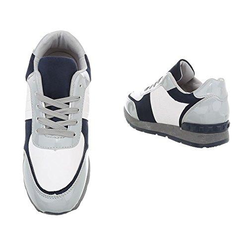 De Femmes Lacets Basses Bleu Multi Sport Chaussures Design 1 g Italien Baskets 84 YUIaxI
